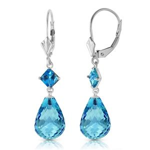 14K. SOLID GOLD LEVER BACK EARRING WITH BLUE TOPAZ
